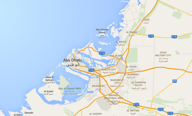 the geographical coordinates of Abu Dhabi UAE