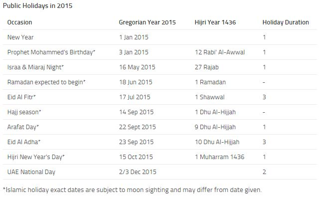 public holidays announced dhabi government
