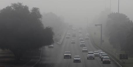 NCMS says visibility had dropped to 500m over western coastal areas due to mist.