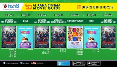 Movies and Show timings of Al Raha Cinema in Al Raha Mall Abu Dhabi