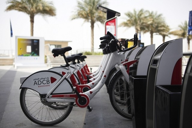 Eleven bike stations are currently scattered around the Al Raha Beach and Yas Island areas but there are plans to introduce dozens more on Saadiyat Island and the Corniche. Lee Hoagland/The National