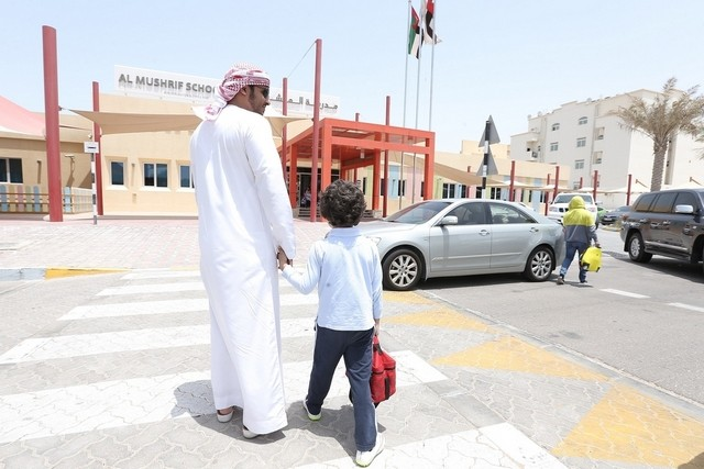 Pedestrian crossings around schools in Abu Dhabi are being improved to safeguard children and their parents, as well as teachers and drivers. Courtesy Abu Dhabi City Municipality
