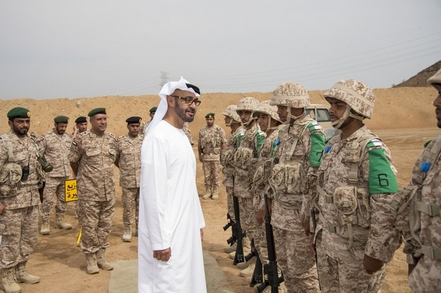 Sheikh Mohammed bin Zayed, Crown Prince of Abu Dhabi and Deputy Supreme Commander of the Armed Forces, talks with national service conscripts at Manama Military Camp.