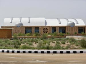 Departure and arrival sections are seen at the Jaisalmer Airport in Rajasthan, India