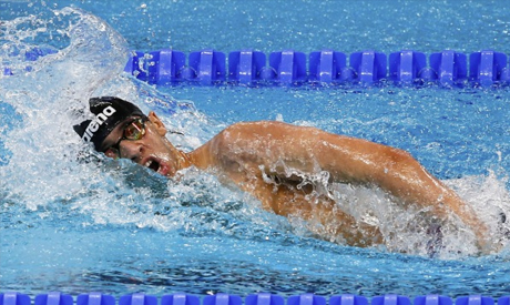 Egypt's Akram Ahmed swims during the men's 400m freestyle,finishing fourth in World's 1500m final heats at the Aquatics World Championships in Kazan, Russia, August 2, 2015