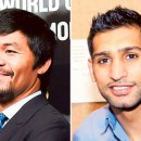 Filipino former eight division world boxing champion Manny Pacquiao, left, and British-Pakistani welterweight Amir Khan