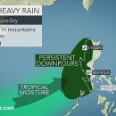 In Baguio City, more than 760 mm (30 inches) of rain has fallen since Thursday. Many other parts of northwestern Luzon have received 250-500 mm (10-20 inches) of rain during the same time.