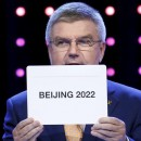homas Bach, president of the International Olympic Committee, announces Beijing as the city to host the 2022 Winter Olympics during the 128th International Olympic Committee Session, in Kuala Lumpur.