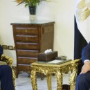 Egypt's President Abdel-Fattah el-Sissi, right, and U.S. Secretary of State John Kerry sit for photos before their meeting at the presidential palace in Cairo, Egypt, Sunday, Aug. 2, 2015. Despite persistent human rights concerns, the United States on Sunday resumed formal security talks with Egypt that were last held six years ago and kept on hiatus until now amid the political unrest that swept the country in the wake of the Arab Spring