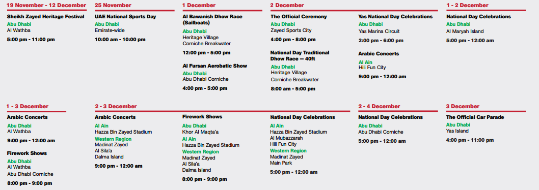 44th UAE National Day events in Abu Dhabi (Click to Enlarge)