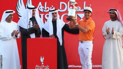 American Rickie Fowler overcame a late challenge from Thomas Pieters to win the Abu Dhabi Championship. Fowler started the day two clear but that was cut to one when Belgian playing partner Pieters birdied the last for a five-under-par 67. However, the world number six kept his nerve to hole a par putt for victory. He finished on 16 under after a final-round 68, while Northern Irishman Rory McIlroy tied for third alongside Sweden's Henrik Stenson. World number three McIlroy, playing in his first European Tour event of the year, had threatened late on with an eagle on the last helping him to a four-under-par round of 68. Meanwhile, a challenge from England's Ian Poulter failed to materialise as he mixed three birdies with three bogeys to finish seven shots back.