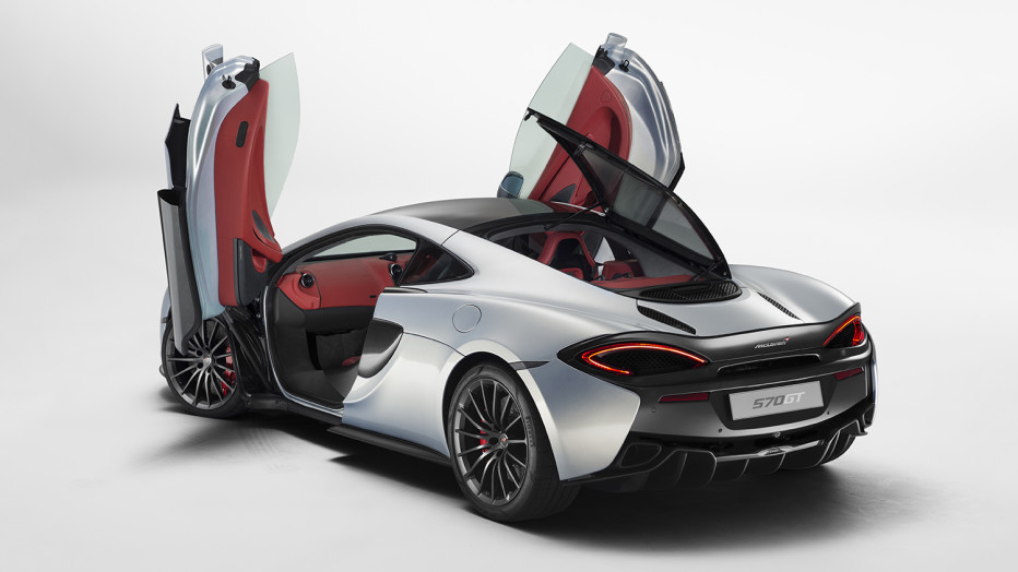 "The new 570GT is the third model in McLaren's ""Sports Series,"" its line of more affordable models that aren't quite as ludicrous as those at the upper end of the range. The 570GT may not match the raw numbers of the 650S, but the specs are nothing to laugh at. The car sends 562 horsepower to the rear wheels, along with 433 pound-feet of torque. Combine that with a total weight of under 3,000 pounds (thanks largely to a carbon fiber core that weighs just 165 pounds), and you can run from 0 to 62 mph in 3.4 seconds and top out at 204 mph. MCLAREN"