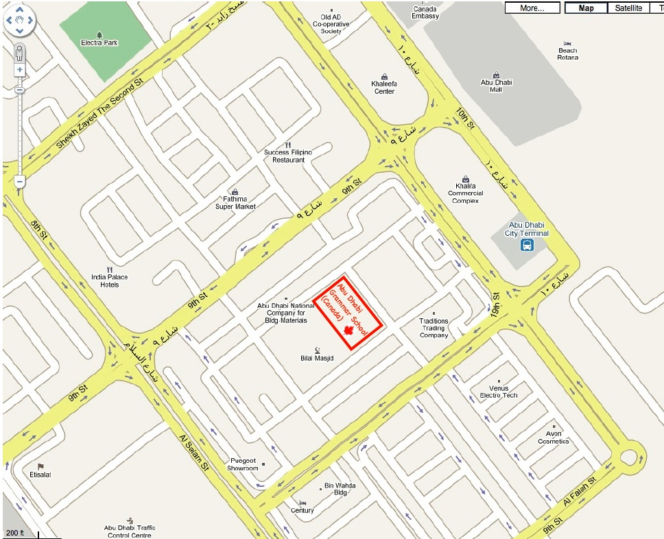 Map of Abu Dhabi Grammar Schhol