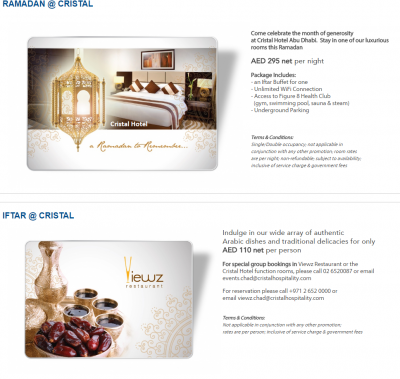 Ramadan Hotel offers and Deals in Abu Dhabi