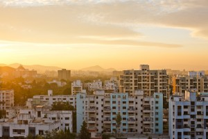 Overview of Buildings, Pune Skyline, Pune, Maharashtra, India ---