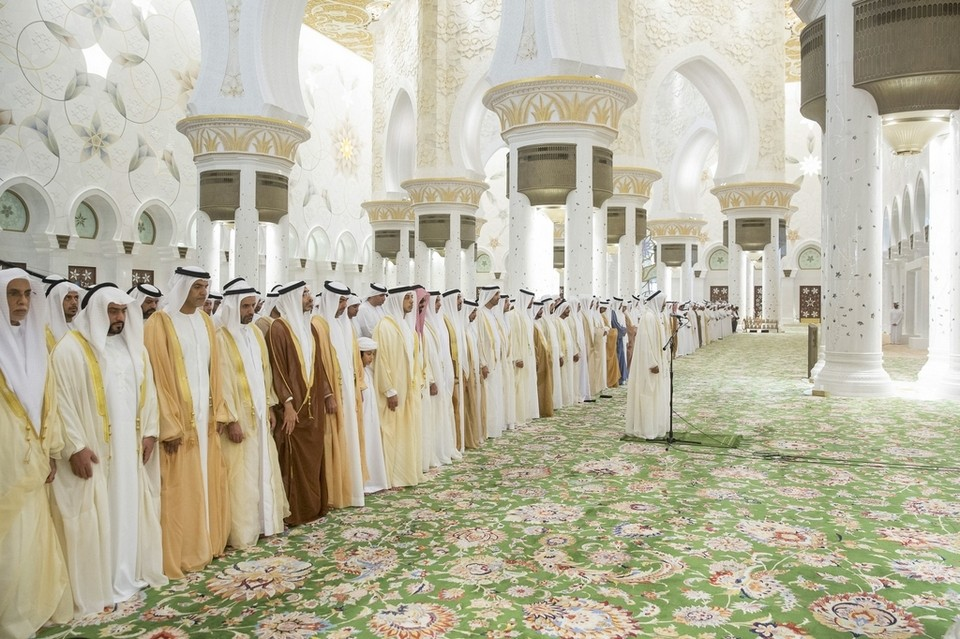 Sheikh Mohammed bin Zayed attends Eid Al Fitr prayers at Sheikh Zayed Grand Mosque