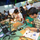 Children experimenting at Abu Dhabi Science Festival
