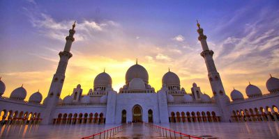 Sheikh Zayed Grand Mosque Sunset View
