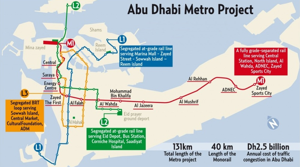 Abu Dhabi Metro Rail Map