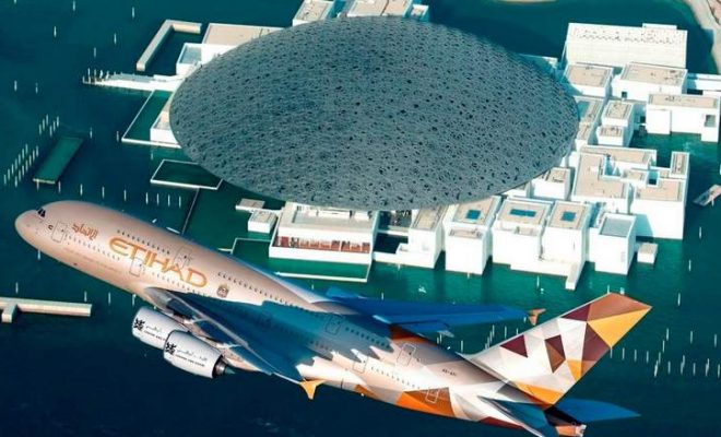Etihad A380 Flying Over Louvre Abu Dhabi