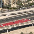 Sheikh Zayed Road Dubai Painted Red
