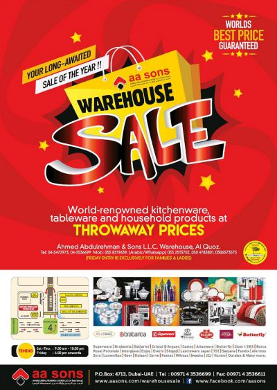 AA Sons Offers Warehouse Sale on Electronics and Home Appliances!!Valid for Limited Time Period