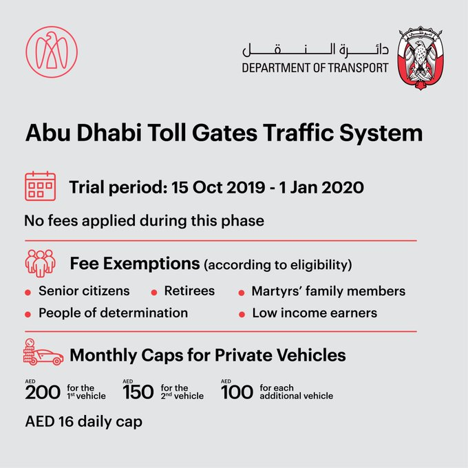 Abu Dhabi toll: No charges until January 1, 2020