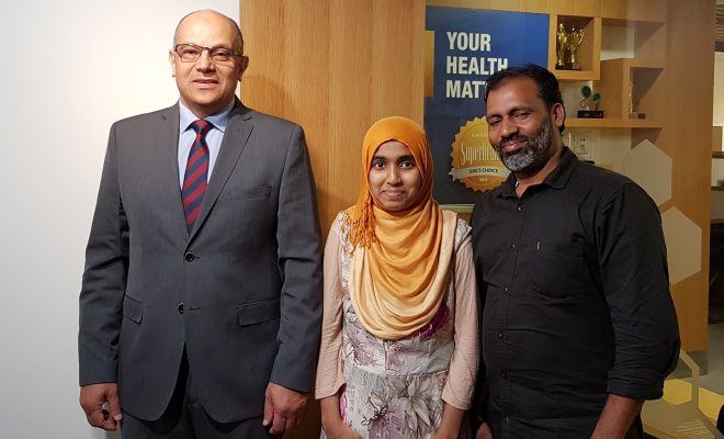 Shahma with her father Mr. Kareem and Dr. Yasser Mohamed Menaissy