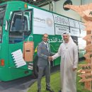 A bus on UAE roads to collect recyclable waste